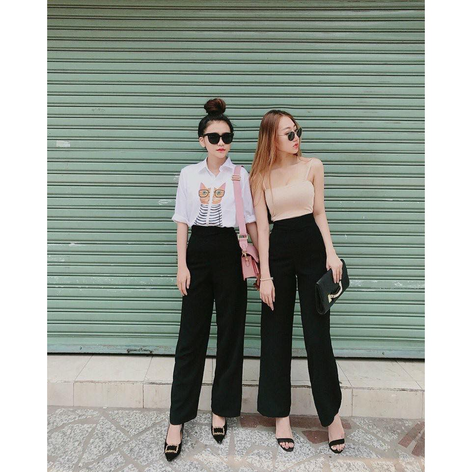 Quần culottes lưng cao