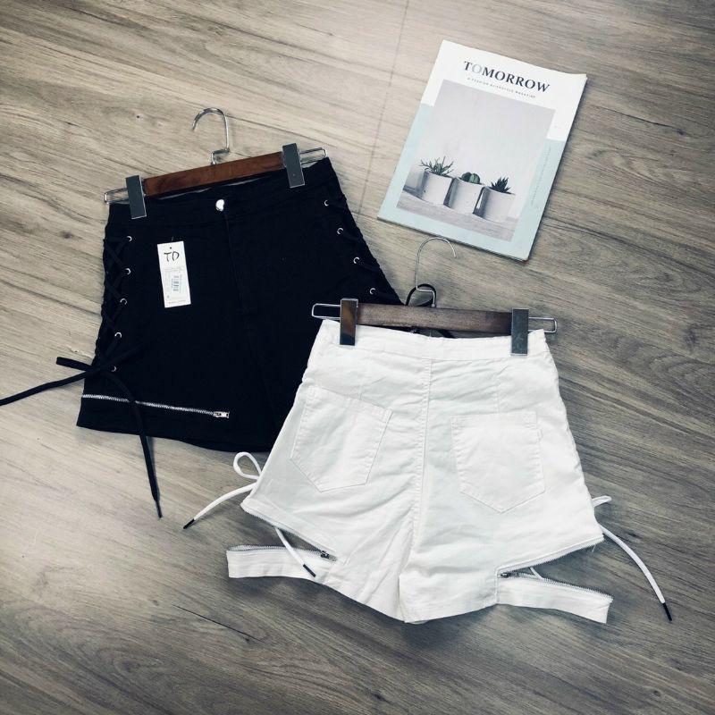 Quần shorts phối dây kéo và phối 10 NÚT lưng cao cấp
