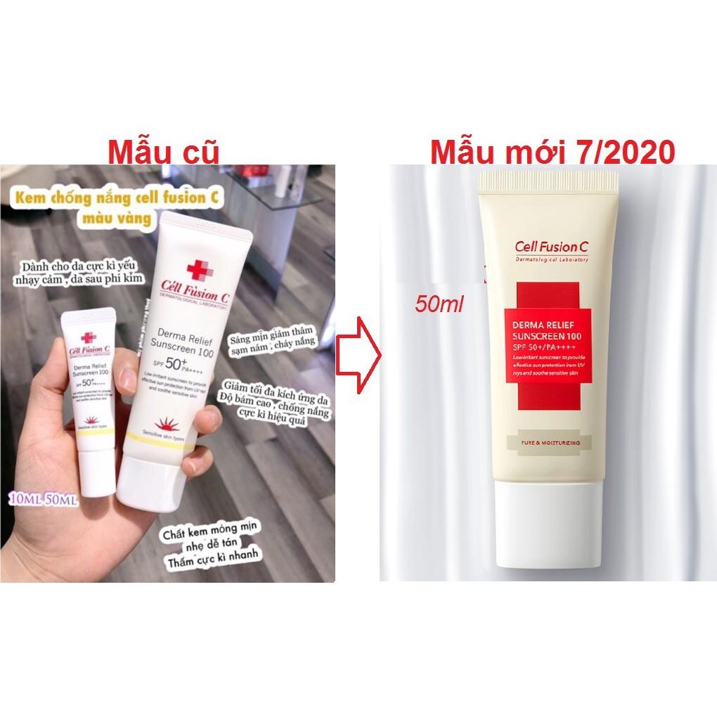 CELL FUSION C - Kem chống nắng #Sọc #vàng Derma Relief cream SPF 50+++ 50ml và 10ml
