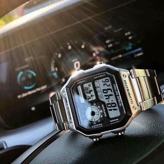 Đồng hồ điện tử nam AE 1200-WHD classic phong cách, thời thượng chống nước, dây thép không gỉ