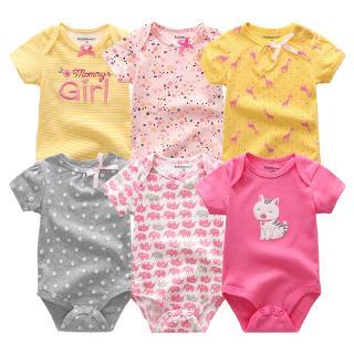 Set 6 Jumpsuit Tay Ngắn Chất Cotton Cho Trẻ Sơ Sinh 0-12 Tháng Tuổi