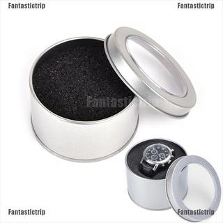Hộp kim loại tròn màu bạc 6.5*4cm để bảo quản đồng hồ đeo tay độc đáo
