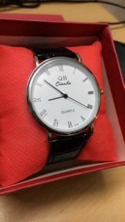 đồng hồ nam, nữ qianba mặt trắng dây da đen bóng siêu đẹp QB 2018 thumbnail