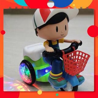 [Hàng chuẩn 100%] Bộ đồ chơi em bé đạp xe quay nhạc xoay 360 độ