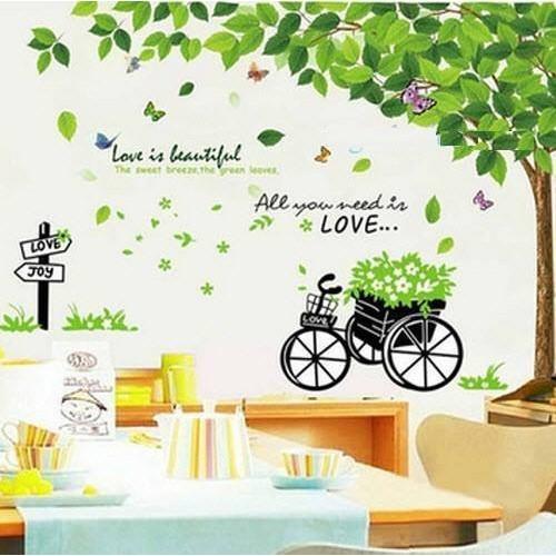 Decal dán tường cây xanh kết hợp xe đẩy - 2489424 , 129055061 , 322_129055061 , 103000 , Decal-dan-tuong-cay-xanh-ket-hop-xe-day-322_129055061 , shopee.vn , Decal dán tường cây xanh kết hợp xe đẩy