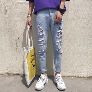 (quanaojeanquangchau).N15.Size: 27-34. Quần Jeans Nam rách ống màu xanh nhạt