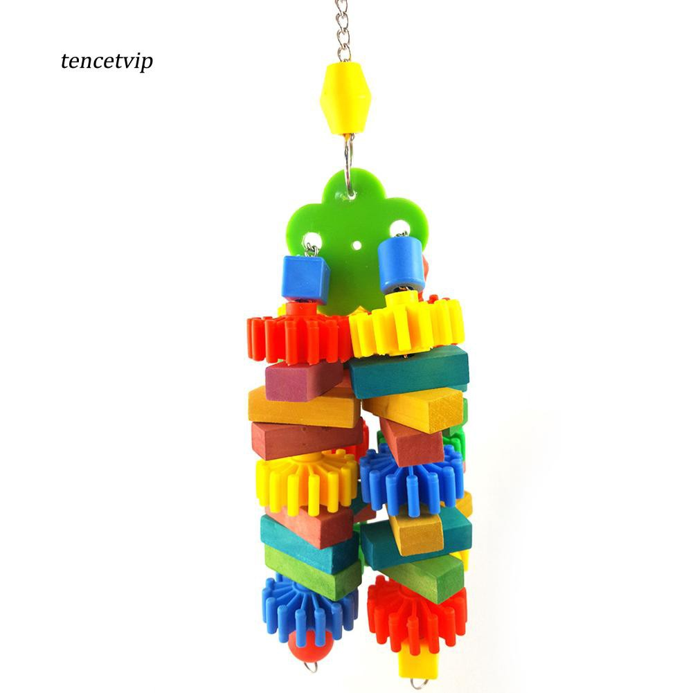 〖Vip〗Cute Bright Plastic Block Pet Chew Parrot Bird Cage Hanging Climb Playing Toy