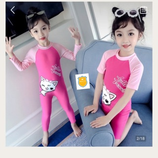Đồ bơi liền thân màu hồng mèo kitty cho bé gái mẫu dài tay/ ngắn tay hiệu Youyou