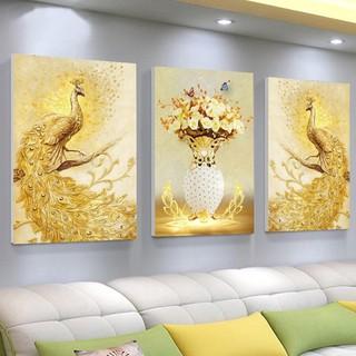 [HCM] Bộ 3 Tranh canvas giá xưởng - Tranh Treo Tường 3D Đôi Công Hoàng Kim - Tặng kèm đinh đa năng không cần khoan tường