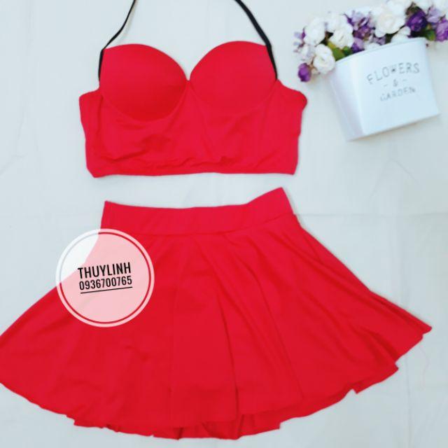 Set bikini áo cúp đỏ mix chân váy xòe đỏ