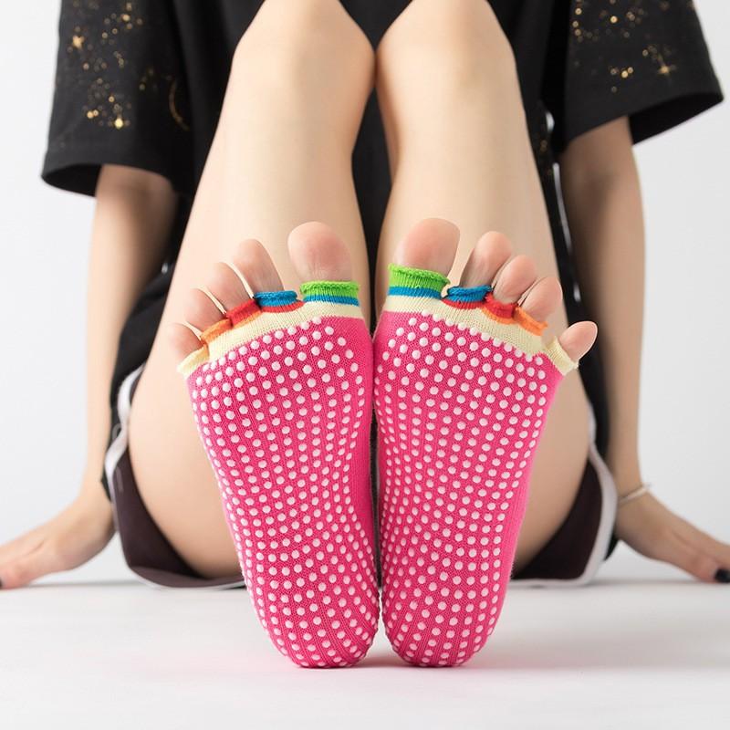 Vớ Yoga Nữ Chống Trượt (5 Ngón (4 Màu)