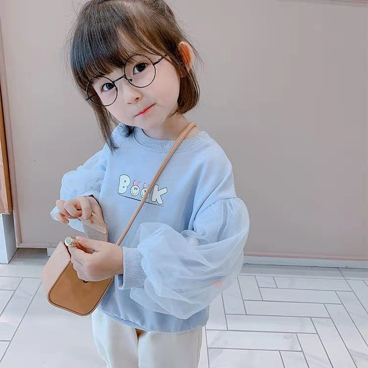 Áo Hoodie Lưới Mỏng Tay Phồng Thời Trang Hàn Quốc Mới Cho Bé Gái